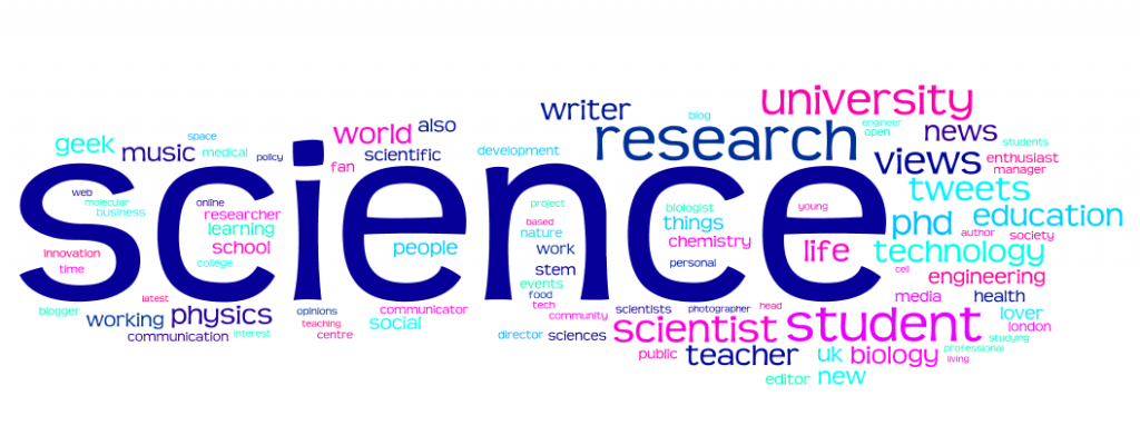 100 word Wordle of Bio of followers of @imascientist