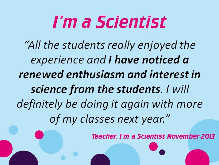 The first slide of the I'm a Scientist summary so far...