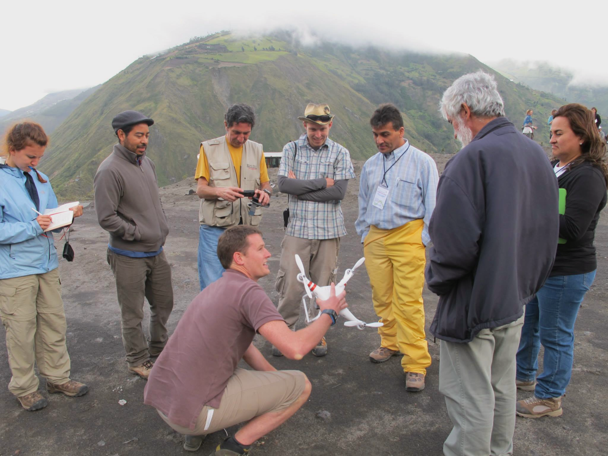 Jon using the quadcopter on Tungurahua