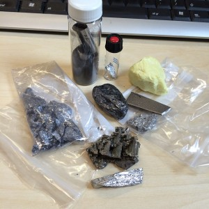 Chemicals that can be found in a meteorite- ready to make some interesting colours when heated.