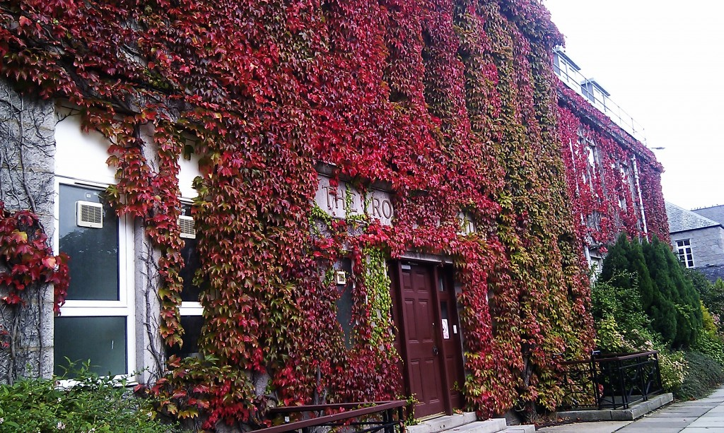 The Rowett Institute of Nutrition and Health where Fiona does her research. The red ivy is not a CGI effect.