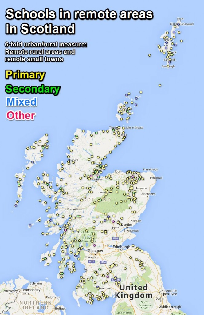 Schools in remote small towns and remote rural areas in Scotland