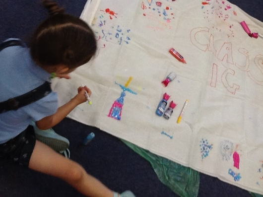 Children at Grangetown Primary designing their dream bed-sheets!
